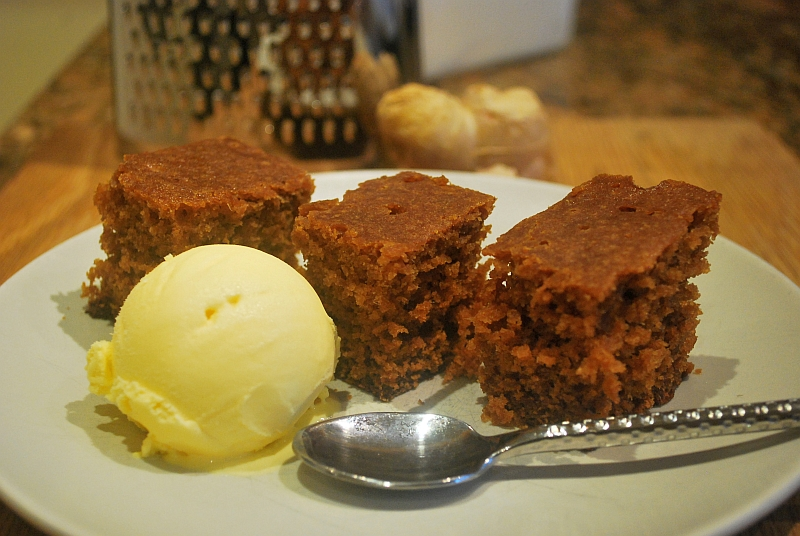 Ginger cake with ice cream