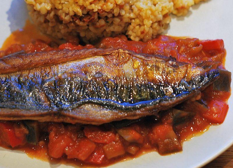Red Ratatouille and mackerel