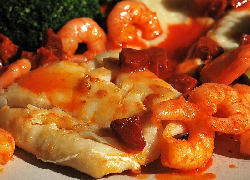 cod with prawns and chorizo