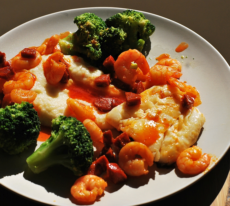 pan fried cod with prawns and chorizo