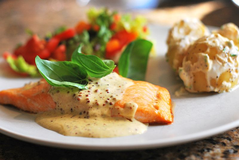 sea trout with mustard sauce