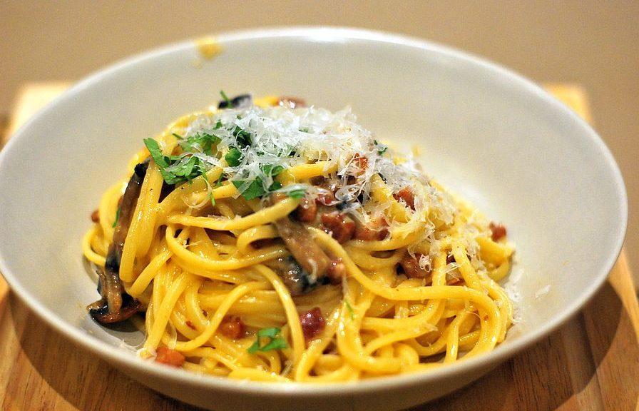 Linguaine pasta with Carbonara sauce